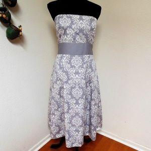 Ann Taylor Loft Gray damask print Strapless Dress